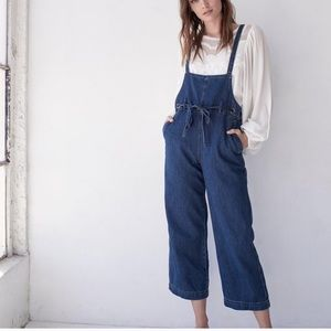 Free people strappy denim overalls